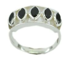 Black Onyx 925 Sterling Silver goodly indian Ring K,M,O,Q UK