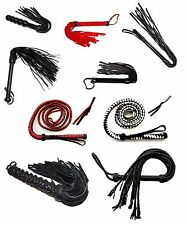 VARIETY OF FLOGGERS Genuine Leather Soft Suede Flogger Bull Whip Braided Chain