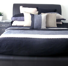 SAWYER Faux-Suede Black Grey MINIMALIST Queen Quilt Doona Duvet Cover Set