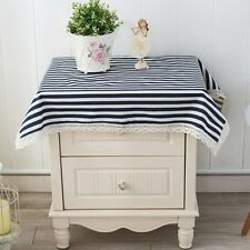 Fashion Tablecloth Square Stripes Cotton Linen Lace Home Decor Table Cloth Cover