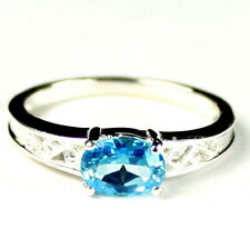 Swiss Blue Topaz, 925 Sterling Silver Ring, SR362-Handmade