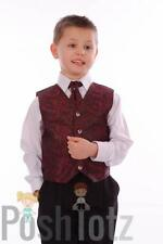Boys Suits, Wedding, Pageboy, Formal, 4 Piece Wine Paisley Suit, 0-3mths-15yr