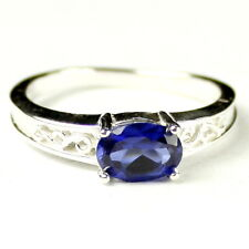 Created Blue Sapphire, 925 Sterling Silver Ring, SR362-Handmade