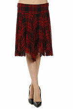 POLO RALPH LAUREN new women ILORY Checked Silk Flared Skirt Authentic