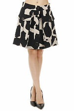 DKNY New woman Black Beige Flared Pockets quilted Silk blend Skirt NWt