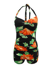 Women Boxer Retro Vintage Halter One Piece Swimsuit Floral Padded Bathing Suit