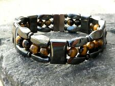 Mens Womens Brown Tiger Eye Magnetic Bracelet Anklet Necklace STRONG Clasp 3 row
