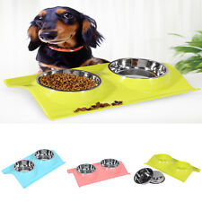 Double Dog Bowls Dish Stainless Steel Puppy Cat Food Water Feeder Feeding OB