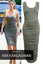 NEW RUSHED DRAPE BODYCON MAXI DRESS-inspired by Kim kardashian Size 8-12