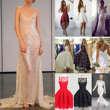 Women Lady's Sexy Shiny Lace Backless Long Ball Gown Evening Cocktail Prom Dress