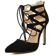NEW WOMENS LADIES LACE UP CUT OUT HIGH STILETTO HEEL SHOES SIZE CN 35-42