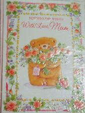 BNIP MUM MOTHERS DAY CARD BEAR WITH FLOWERS DESIGN