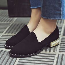 Womens Roma Low Top Suede Leather Pearl Kitten Heel Block Slip On Loafers Shoes