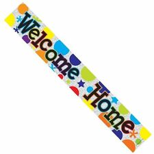 3 x WELCOME HOME MULTI COLOURED FOIL BANNERS WELCOME HOME  BALLOONS FOIL BALOON