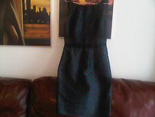 Reiss teal black brown shift bodycon dress lined size 12