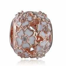 authentic 925 sterling silver Charm Enamel Rose Gold Primrose Meadow Charm Beads
