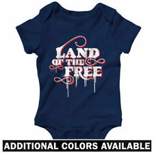 Land of The Free One Piece - Baby Infant Creeper Romper NB-24M - Gift USA Flag