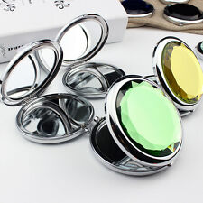 Fashion Mini Stainless Travel Compact Pocket Crystal Folding Makeup Mirror VC