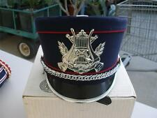 Blue Black with Red piping Band Uniform Slant top Hat Shako Made by Stanbury