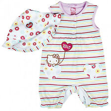 Girls Romper Hat Playsuit Hello Kitty Stripe Floral Outfit New Baby to 9 Months