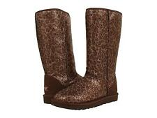 UGG WOMANS CLASSIC TALL GLITTER SPARKLE BOOTS BRONZE GOLD BROWN SIZE 7 8 NEW