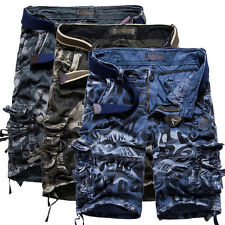 Mens Summer Casual Slim Fit Cotton Solid Multi-Pocket Cargo Shorts Short Pants##