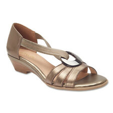 NEW Easy Steps Corsica Pewter Leather Elastic Strap Sandals Wide Fit C-Fit