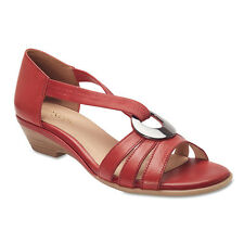 NEW EASY STEPS CORSICA RED LEATHER SANDALS WOMEN'S SHOES COMFORT FIT