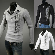 NEW Fashion Mens Slim Fit Stylish POLO Shirt Long Sleeve Casual T-shirts Tee Top