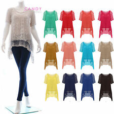 Womens Ladies Short Sleeve Twin Layer Lace Crochet Baggy Dress Long Tunic Top