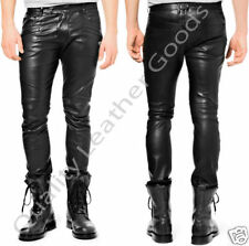 MENS SYNTHETIC LEATHER JEANS  THIGH FIT OUTRAGEOUSLY LUXURY PANTS TROUSERS