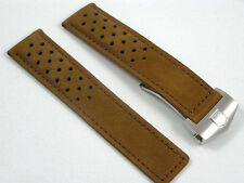PERFORATED & SOLID LEATHER STRAP FOR TAG HEUER MONACO CARRERA 22mm STRAIGHT ENDS