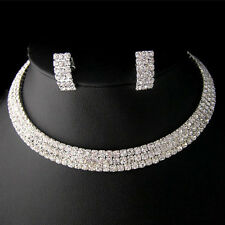 Party Wedding Bridal Crystal Necklace Choker Earring GP Silver Jewelry Set
