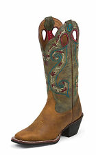 Tony Lama Womens Pecan Milled Buffalo Leather 3R 13in Western Boots