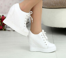 Womens Hidden Wedge Heel Lace Up Lace Up Sksteboard Tennis Sneaker Shoes 2015