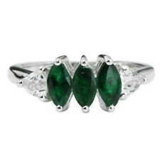 Solid Gold Chrome Diopside,White Topaz Three Stone 1.6 ctw Ring GSR396