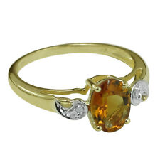 Solid Gold Madeira Citrine & Diamond Solitaire with Accents GSR398