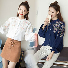 Lady Floral Embroidered Blouse Cotton Long Ruffle Sleeve Button Ethnic Shirt Top