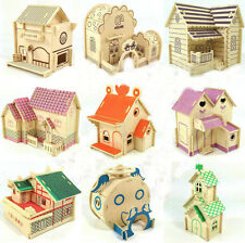 Wooden 3d puzzle jigsaw wooden toy for children diy house building model Villa