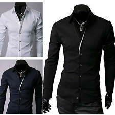 New Mens Luxury Casual Slim Fit Stylish Dress Shirts 3 Colors 4 Size