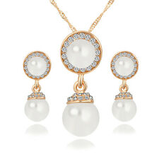 Angel's Eye Necklace with Pearl Earrings Jewelry Set Free Shipping