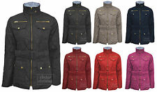 New Ladies Four Pockets Quilted Belted Padded Buble Gold Zip Jacket Coat Top 040
