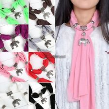 Necklace Scarves Charm Ring Jewelry Alloy Elephant Pendant Scarf Vintage WT88