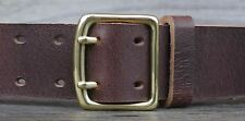 Men's Rustic Jeans Belt, 1 ¾ inch wide buffalo leather, solid brass buckle