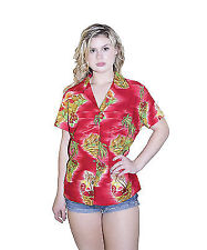 Hawaiian Shirt Women Scenic Flower Print Aloha Beach Blouse