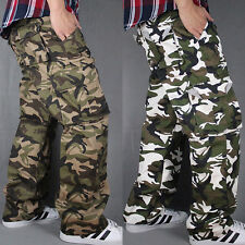 Mens flat Casual Army Cargo Slacks camouflage Trousers Work Straight Leg pants