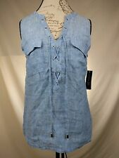 NEW INC Womens Sleeveless Linen Lace Up Blouse Boho - Chambray Blue