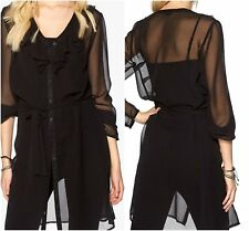Lovely Black Summer Chiffon Shirt Dress- Size 6/8, -22/24
