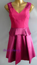 New KAREN MILLEN Fun Magenta Dress BNWT UK 8 10 12 14 16 Peplum Prom Party DR033