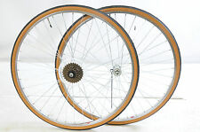 27x1 1/4 MULTI SPEED WHEEL SET WITH TYRES,TUBES FREEWHEEL FOR 50's 80's RACER